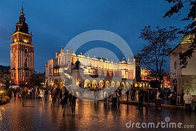 The Main Market Square in Krakow Editorial Photography