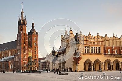 Church of St. Mary & Cloth Hall - Krakow - Poland Editorial Stock Photo