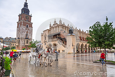Main market square of the Old Town in Krakow, Poland Editorial Stock Photo