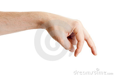 Main mâle affichant les doigts de marche