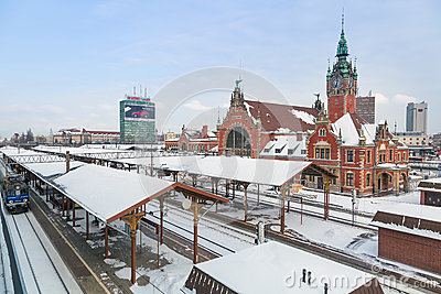 Main railway station in the city center of Gdansk Editorial Stock Photo