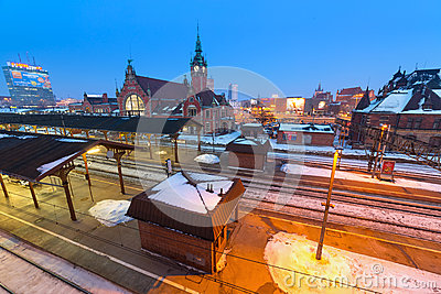 Main railway station in Gdansk, Poland Editorial Photography