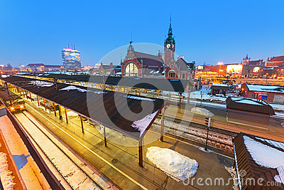 Main railway station in Gdansk, Poland Editorial Stock Image
