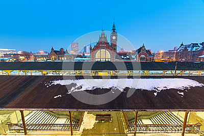 Main railway station at night in Gdansk