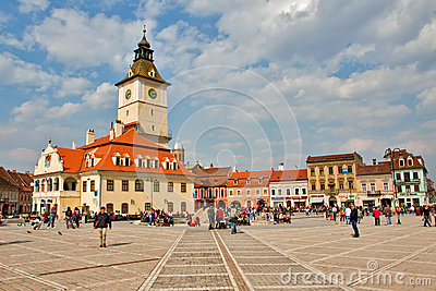 Main square in Brasov Editorial Stock Photo