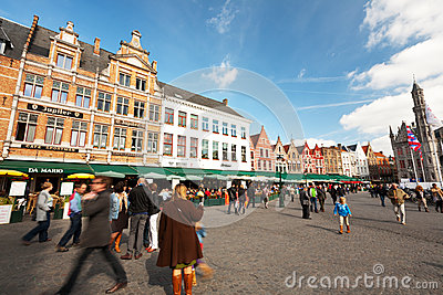 The Main Square of Bruges, Belgium Editorial Photography