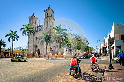 Main square with Cathedral in Valladolid, Mexico Editorial Stock Image