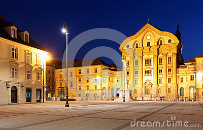 Main square city of Slovenia and Church of the Hol