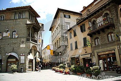 Main square in Cortona (Italy) Editorial Photography