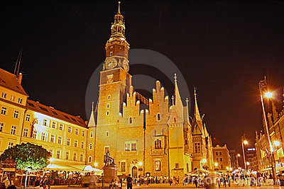 Main square in Wroclaw (Poland) at night Editorial Photography
