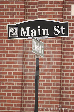 Main St street sign in small town America