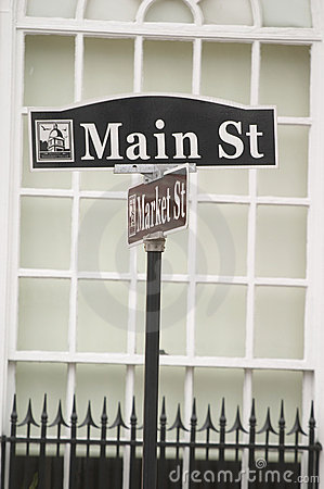 Main St street sign in small town USA