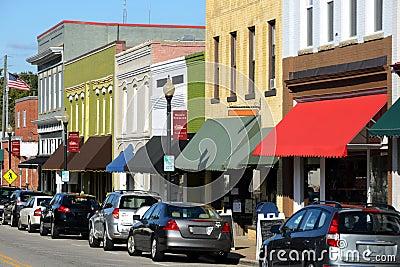 Main street in american town