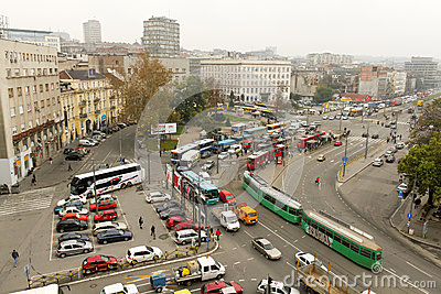 Main street in Belgrade, Serbia