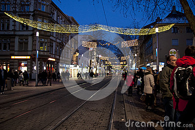 Main street with chrismas decoration Editorial Image