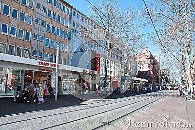 main street in karlsruhe germany editorial image image 30426055. Black Bedroom Furniture Sets. Home Design Ideas