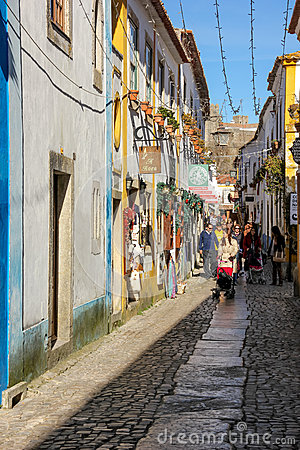 Main street. Obidos. Portugal Editorial Photography