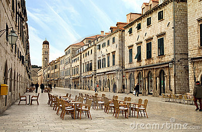 Main street in Old Town in Dubrovnik, Croatia