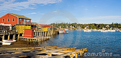 Maine fishing harbor panorama