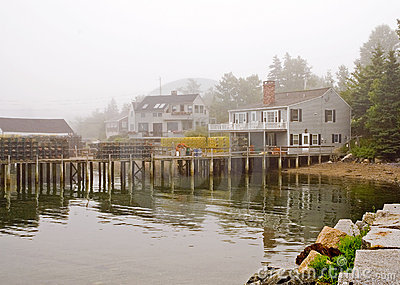 Maine fishing wharf in fog