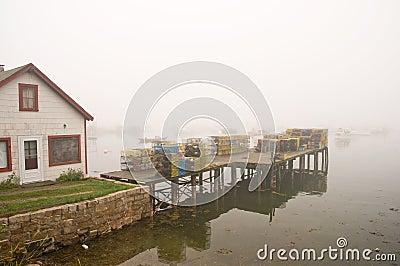 Maine fishing wharf in fog