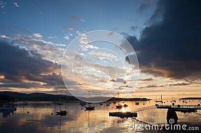 Maine harbor at sunrise