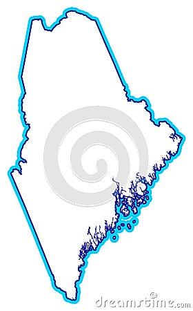 Maine Map Illustration