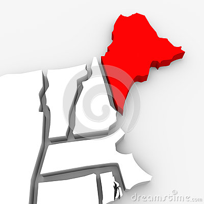 Maine Red Abstract 3D State Map United States America