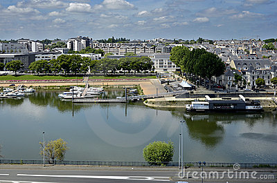 The Maine river at Angers in France