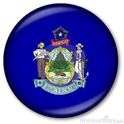 Maine State Flag Button