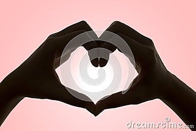 Mains de l amour (avec le chemin de découpage)