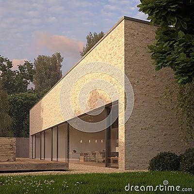 Maison contemporaine de brique avec le jardin photos libres de droits image - Maison brique moderne ...