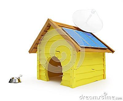 Maison de crabot avec les panneaux solaires et l 39 antenne for Antenne cellulaire maison