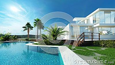 Maison de luxe avec un jardin et une piscine tropicaux illustration stock image 41216072 for Maison moderne de luxe avec piscine