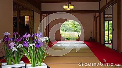 Maison japonaise avec la fen tre ronde photo stock image for Fenetre japonaise