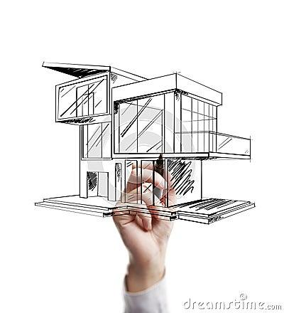 maison moderne de dessin images stock image 26209994. Black Bedroom Furniture Sets. Home Design Ideas