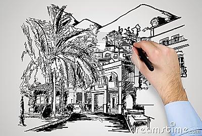 main avec le stylo dessinant la maison moderne - Maison Moderne Dessin