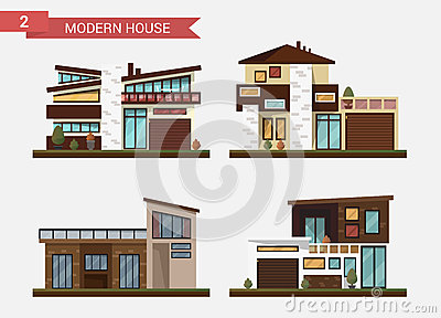 Maison traditionnelle et moderne d 39 illustration plate de for Immeuble bureau moderne
