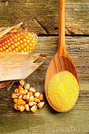 Maize  flour over spoon