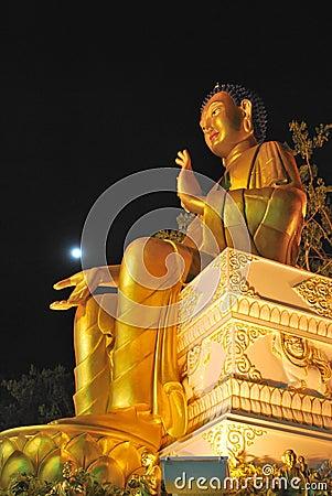 Majestic golden buddha statue