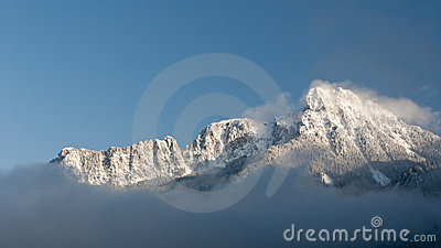 Majestic snowy mountain in winter
