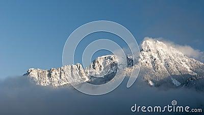 Majestic snowy mountain in winter