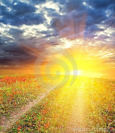 Free Majestic Sunset In A Fields And A Road Stock Photos - 16955643