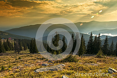 Majestic sunset in the mountains landscape. HDR im