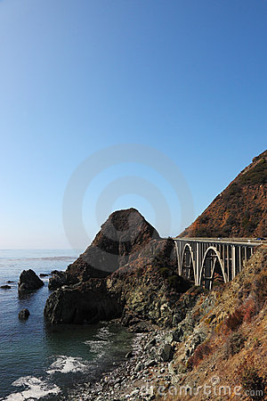 Majestic viaduct on the highway on the shore