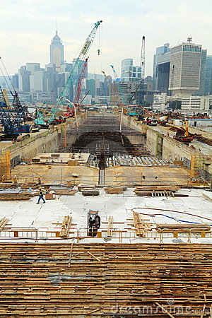 Major construction site in Hong Kong Editorial Stock Photo