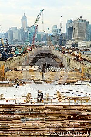 Major construction site in Hong Kong Editorial Stock Photo
