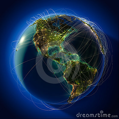 Free Major Global Aviation Routes On Stock Photography - 23077902