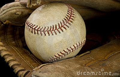 Major league baseball and glove