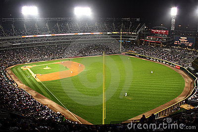 Major League Baseball Stadium at Night
